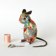 Textile art sculpture of field mouse - free P&P to UK