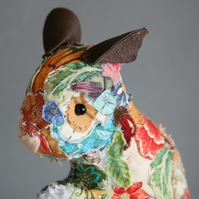 Handmade textile art sculpture of field mouse - free delivery to UK