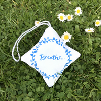 "Lavender scented hanging decoration, ""Breathe"" & Liberty print (free UK P&P)"