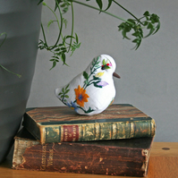 Embroidered textile art bird sculpture with lavender - free delivery to UK