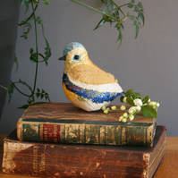 Handmade yellow and blue textile art bird sculpture - free UK delivery