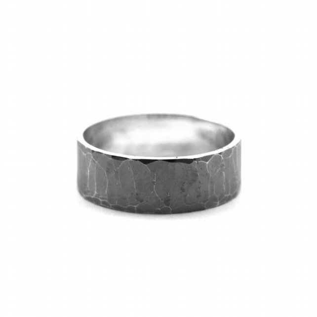 Chunky Hammered Oxidised Silver Personalised Ring