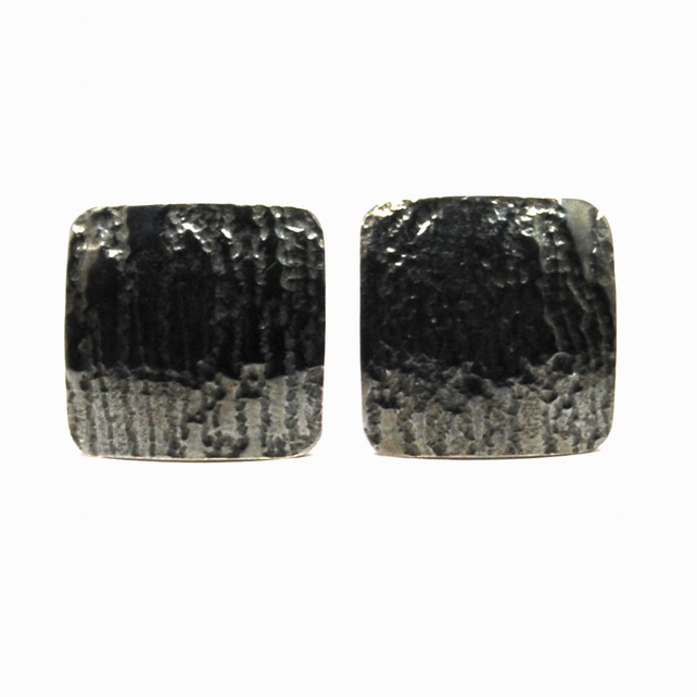 Bark Oxidised Sterling Silver Cufflinks