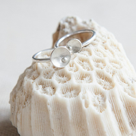 Two Silver Stack Rings 'Circles and Pearls'