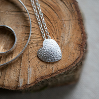 Personalised Sterling Silver Necklace with Floral Heart Pendant