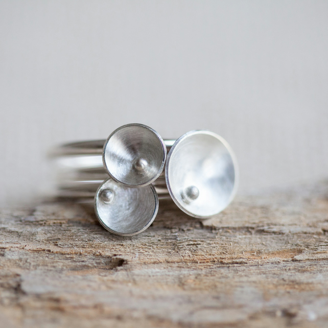 Three Silver Stackable Rings 'Circles and Pearls'