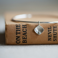 Squares and Pearls Silver Bangle