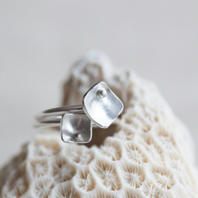 Two Squares and Pearls Rings Sterling Silver