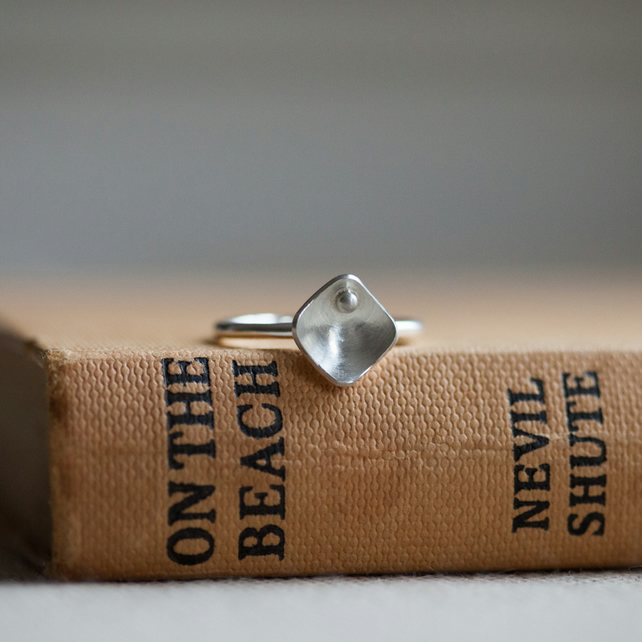 One Small Squares and Pearls Ring