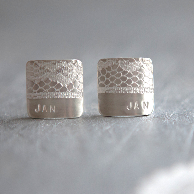 White Lace Personalised Cufflinks