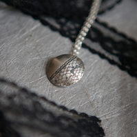 Sterling Silver Necklace with Black Lace  Pendant