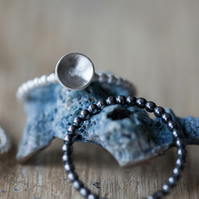 Two Silver Stack Rings Matt and Oxidised