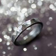 Black Hammered Silver Personalised Ring