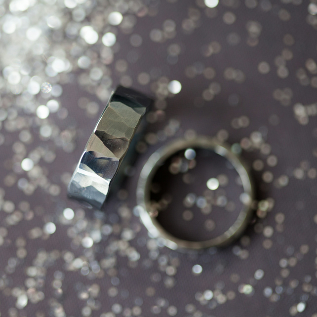 Rockstar Oxidised Hammered Silver Ring