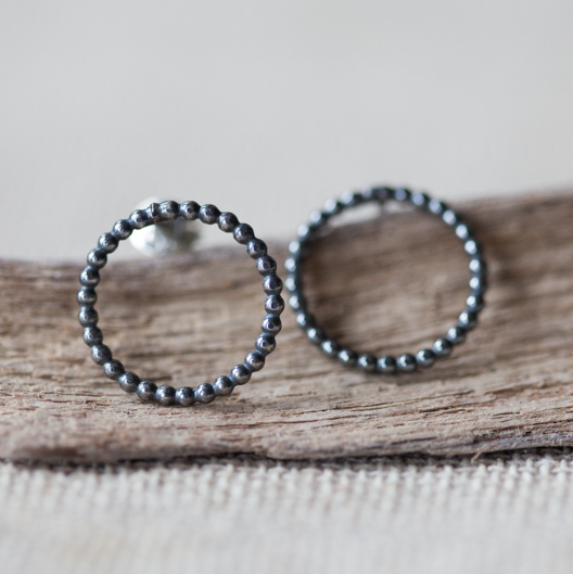 Oxidised Circle Earrings
