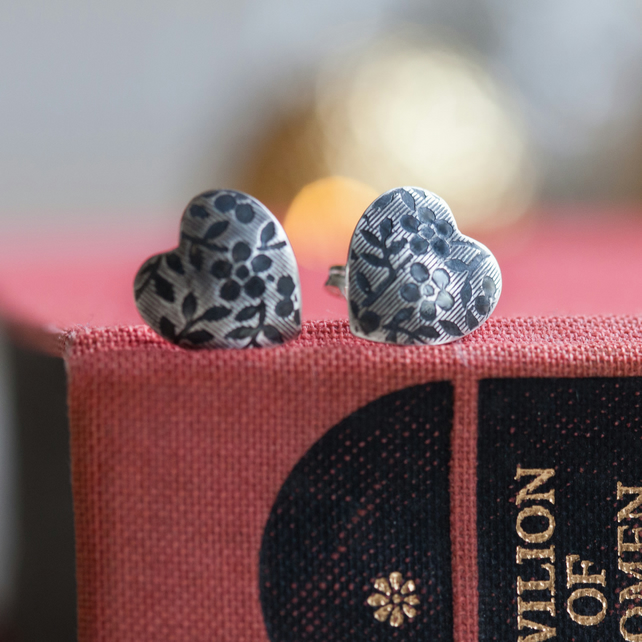 Heart Shaped Earrings Silver Floral Pattern Studs