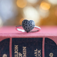 Oxidised Silver Heart Ring