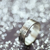 Personalised Waterflow Oxidised Silver Ring