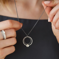 Kinetic Oxidised Silver Necklace Circles and Moon