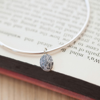 Round Silver Bangle with Flower Charm
