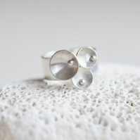 Circles and Pearls Silver Wide Ring