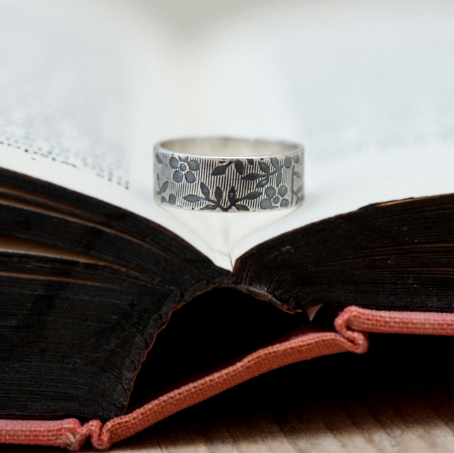 Oxidised Floral Sterling Silver Personalised Ring