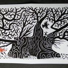 Greetings cards, pack of 5, ancient oak with fox cubs and crow