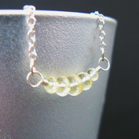 Petite Lemon Quartz Bar Necklace in Sterling Silver