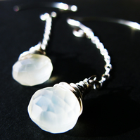 Long Chalcedony Earrings Wire Wrapped in Sterling