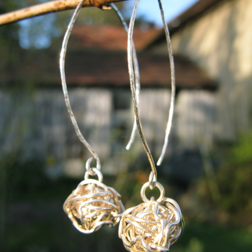 Cepheus - Sterling Silver Twisted Wire Earrings - FREE UK POSTAGE!