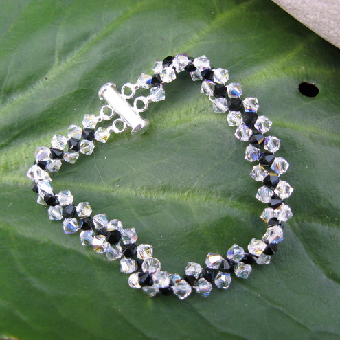Aquila - Swarovski Crystal Woven Bracelet in Black And Crystal Clear - FREE UK POSTAGE!