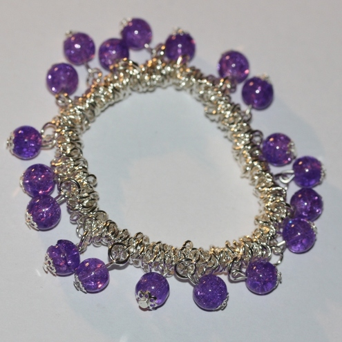 Purple Crackle Charm Bracelet