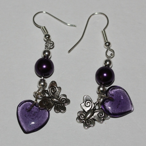 Purple butterfly and heart earrings