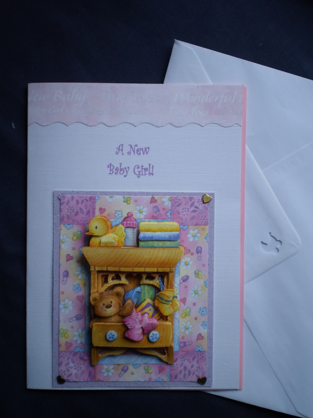 handmade Decoupage,3D Baby Girl Greetings Card,Personalise