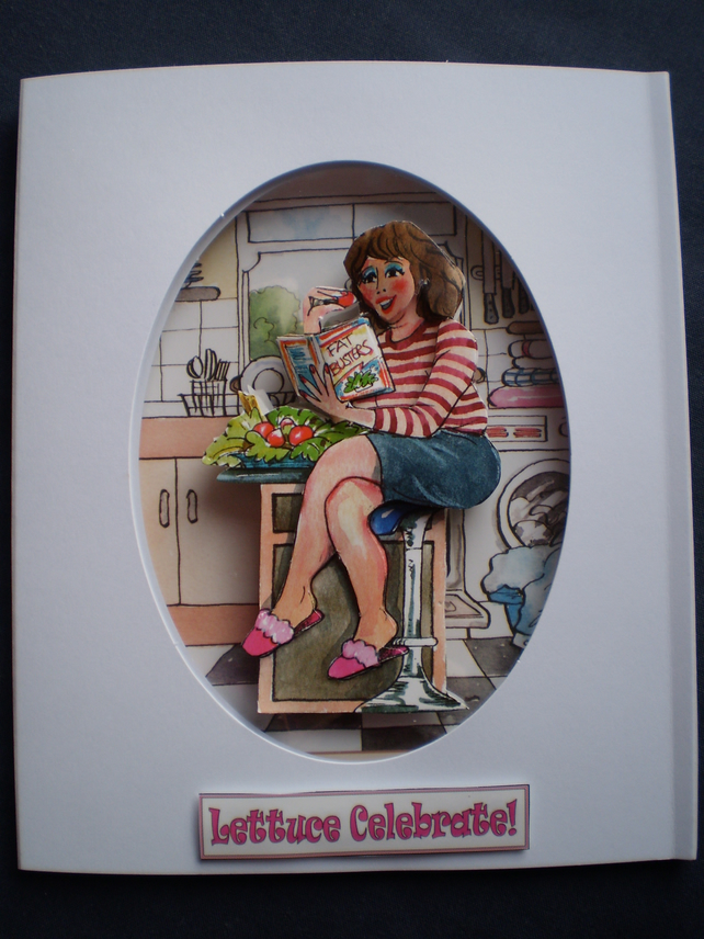 Humorous Birthday Card Reduced Price, lady on diet,3D