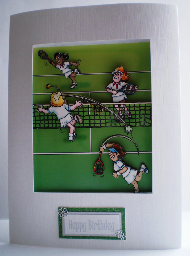tennis birthday decoupage card,handmade,personalise,any occasion