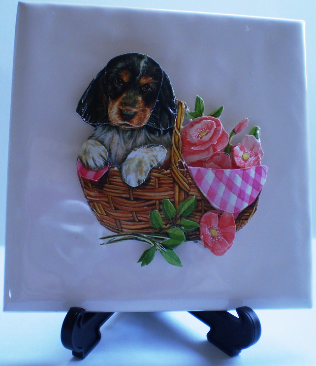 personalised decoupage tile