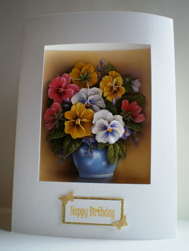 Decoupage Pansy birthday card,handmade,personalise
