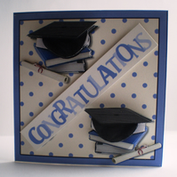Handmade Decoupage,3D Graduation Card, Books,Scroll and Mortar Board
