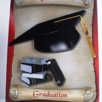 Handmade Graduation Card,Mortarboard,books,personalise