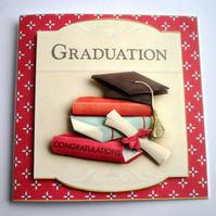 Handmade Graduation Card, books,scroll,mortarboard, personalise