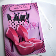 Handmade Girly Pink Shoes Birthday Card,3D,Decoupage 18th 21st,Personalise