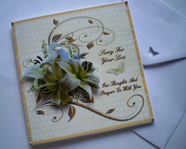 Handmade Sympathy Card, 3D, personalise