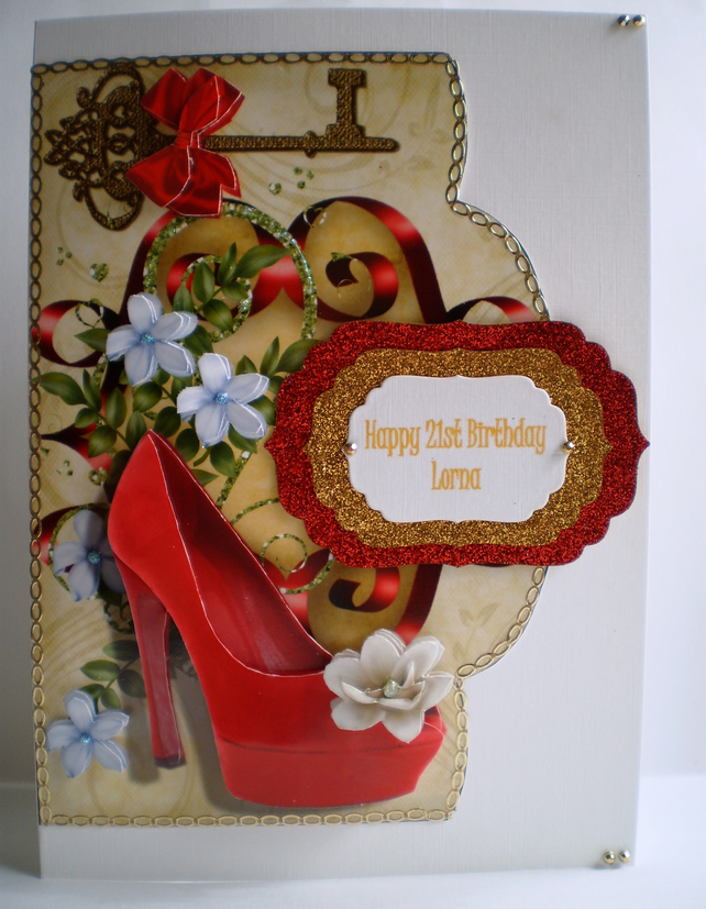 Handmade 21st Birthday Decoupage Card, shoe and key, personalise
