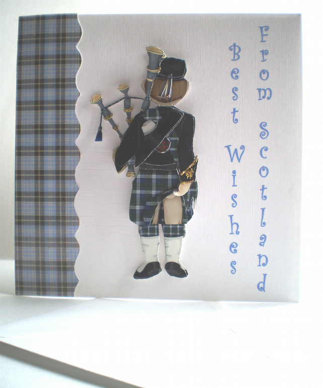 Handmade Decoupage Scottish Piper Greetings Card