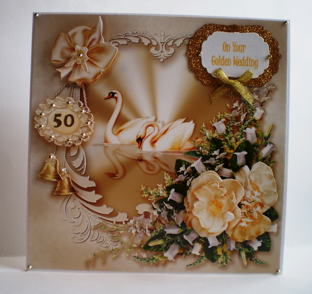 Handmade Large Golden Wedding Card, Swans, Decoupage,3D,