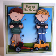 Handmade Boys and  Remote Controlled Cars Birthday Card,3D,Decoupage,Personalise