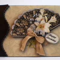 Handmade Decoupage Fan and Flowers Birthday Card,Personalise
