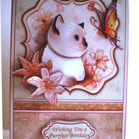 Handmade Decoupage Cat Birthday Card,3D,,Personlise,any age