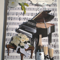 Handmade  Anniversary Card, Silver, Decoupage,3D, Piano,Flowers.Personalise
